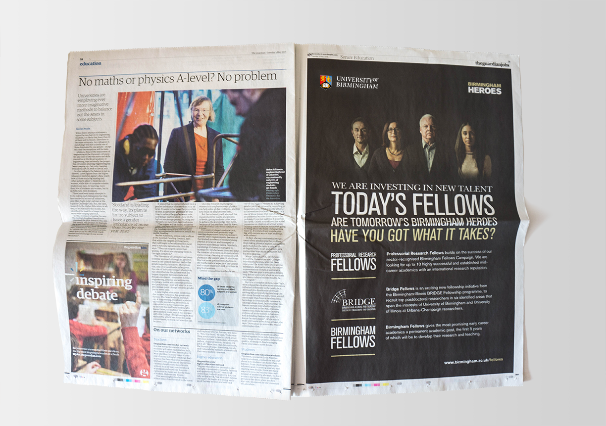 Birmingham Heroes advert in the Guardian